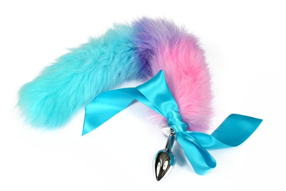 81dc4aed6 Cute rainbow hand dyed fur kitten play tail. Custom made