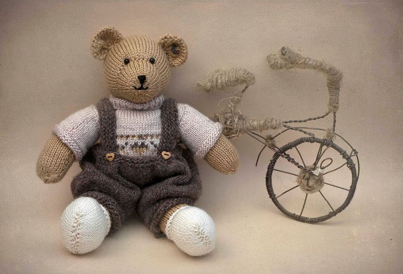 Child Toy Kids Toy  Photo Prop  Kids Fashioned Knitted Beige bear Knit Toy Kids Bear Hand Knit Teddy Bear Toy Stuffed Animal Toy
