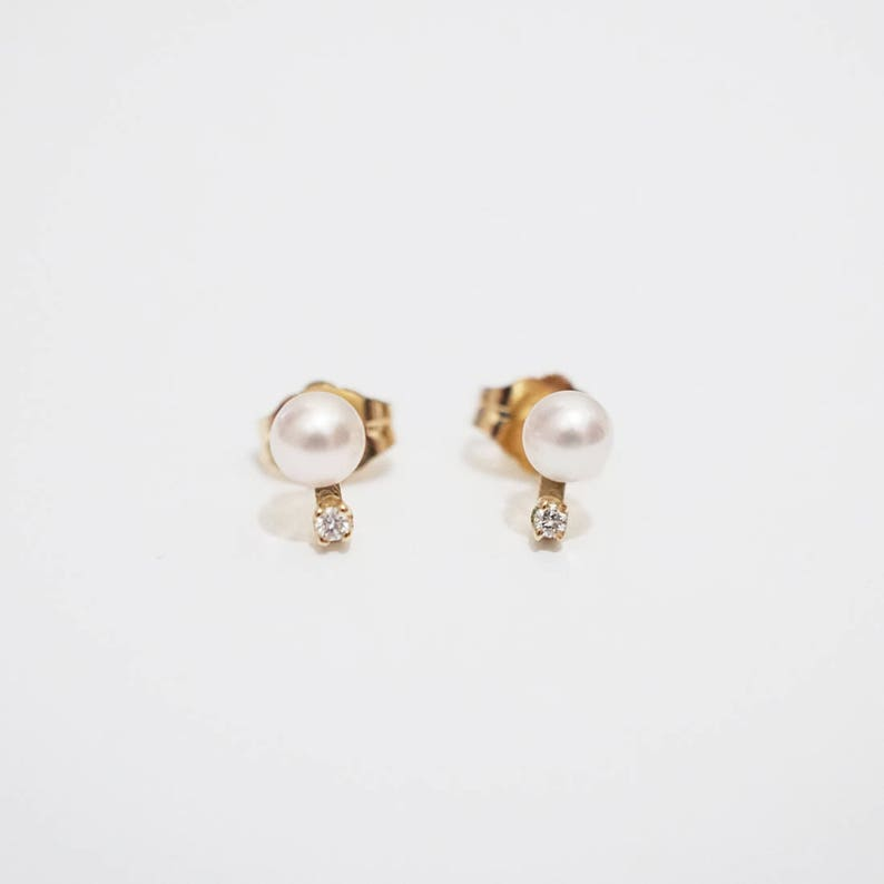 4f00863a8 Japanese Akoya pearl with diamond stud earrings pair Pearl   Etsy