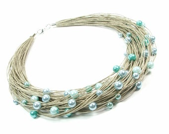Pasque Natural colorful linen jewelry set vegan organic jewelry for women rainbow linen threads for linen clothing textile necklace