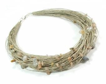 Natural multi stone bracelet organic linen bracelet,fabric linen threads bracelet for linen dresses Black onyx textile jewelry for women