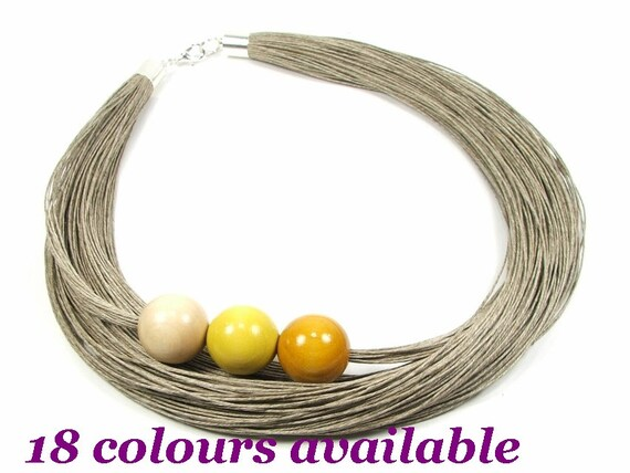 necklace of natural linen Natural linen necklace jewelery of threads wooden beads a gift for her Women/'s trendy necklace red wood
