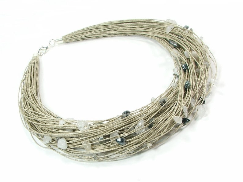 stainless steel jewelry Grey natural linen stone jewelry quartz crystal necklace eco friendly gifts eco friendly jewelry raw jewelry