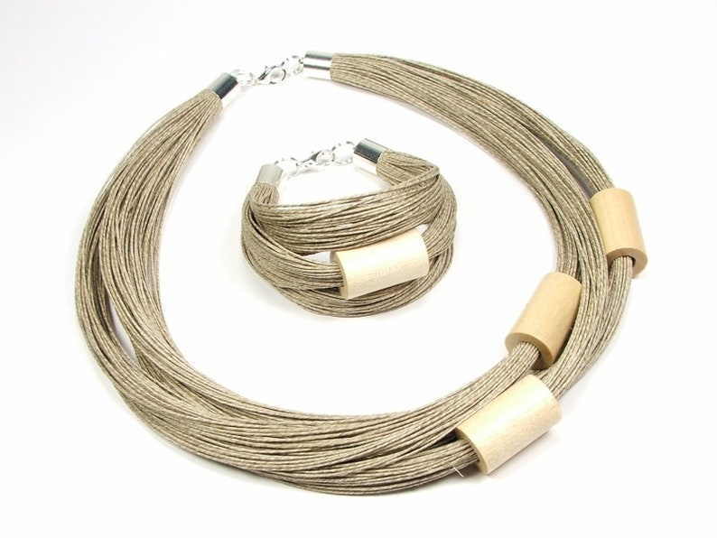 wooden linen rustic bracelet birthday gift for mother Natural cream tubes linen jewelry set for women wooden beaded simple necklace