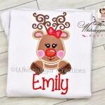 Christmas Reindeer Embroidered Shirt - Christmas Rudolf Reindeer Baby Bodysuit - Baby Girl Holiday Outfit