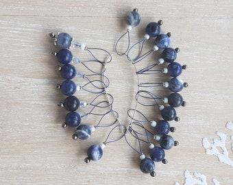 Blue Sodalite knit marker set