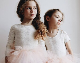 Handmade lace and cotton leotard flower girl