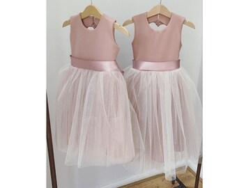 Handmade blush sparkly pink tulle flower girl dress