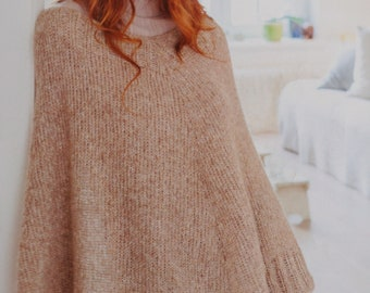 Elegant Merino/Alpaca hand knitted poncho in different colors