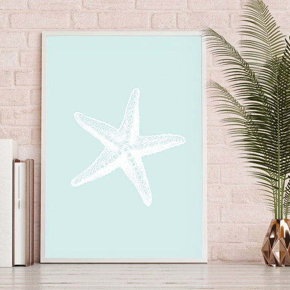 Printable Starfish Beach Bathroom Decor Ocean Coastal Art | Etsy