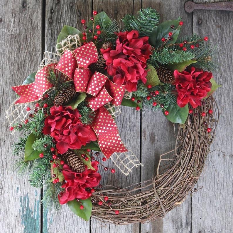 Rustic Winter Front Door Wreath Red Hydrangea Valentines Day Etsy