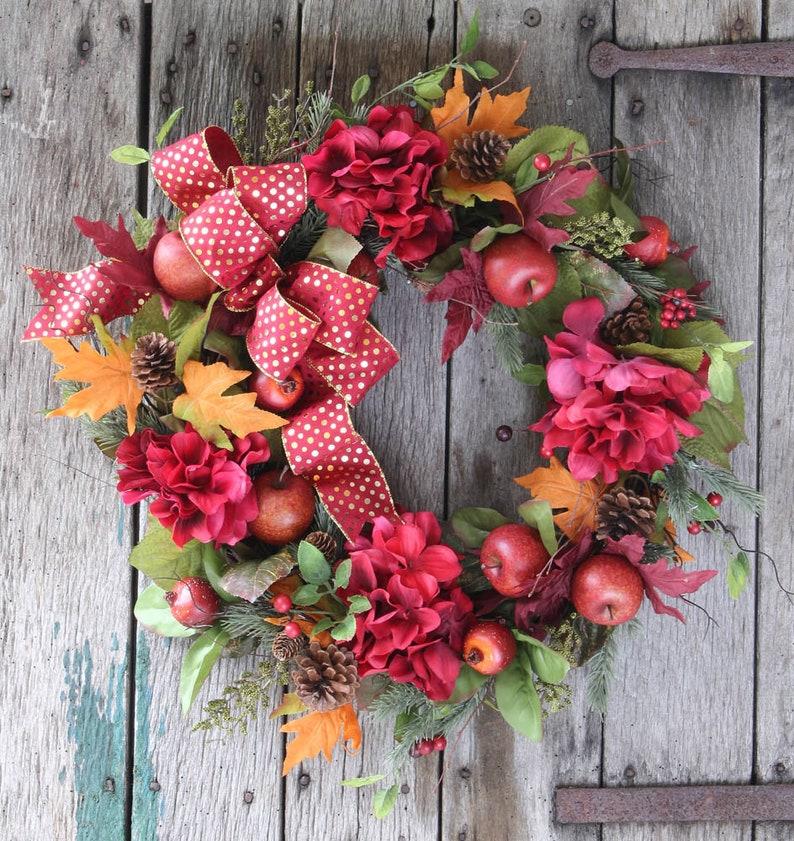 Rustic Fall Apple Front Door Wreath Red Hydrangea Wreath Etsy