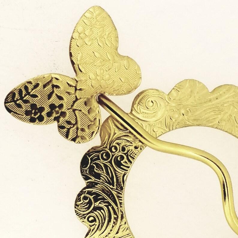 Brass Open Circle Shawl Pin  Butterfly Flower Motif  Apparel Closure For Scarf Sweater Wrap Cloak Shrug Kilt  Bun Holder  Small Size