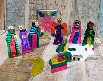 Mexican Tin Nativity Set - 10 figures in box