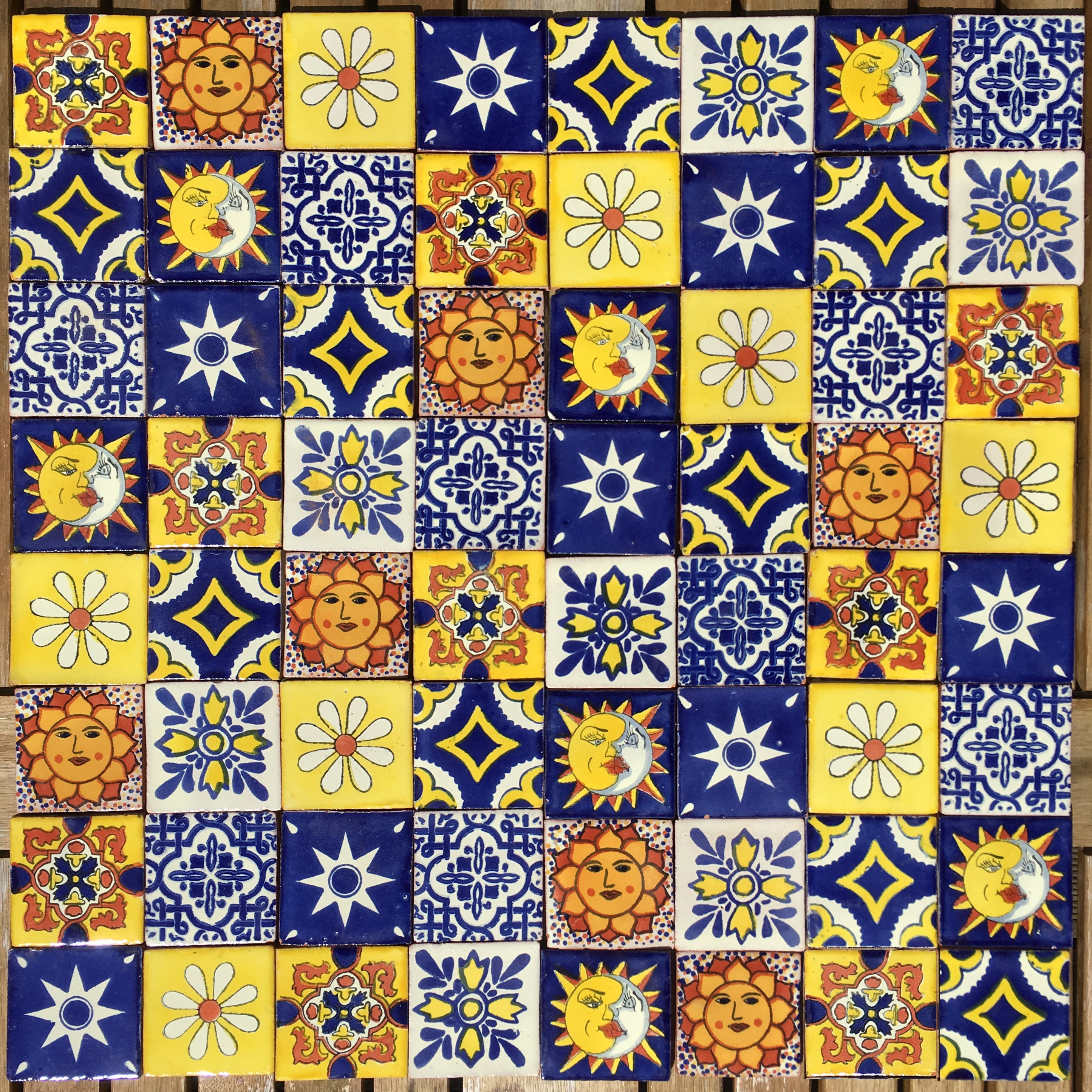 Mexican Tile Set of 64 SMALL Tiles 5cm x 5cm Taco SUNSET