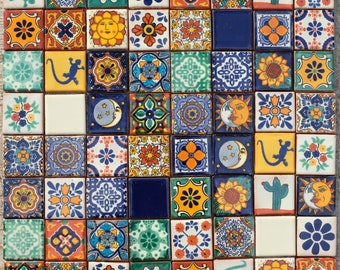Mexican Tile Set of 64 SMALL Tiles 5cm x 5cm TACO Mix