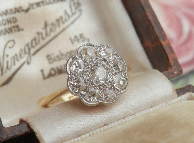 abc4cb104e542 Antique Edwardian diamond daisy engagement ring, Guild of Valuers report,  0.76ct Old Mine cut, Old European cut diamonds, ring size L