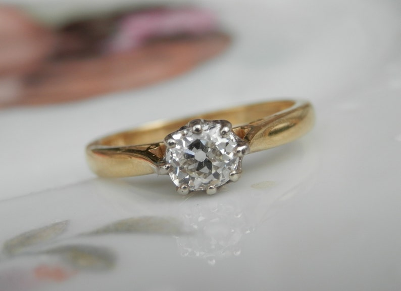 2a3f0f537f995 Vintage solitaire diamond engagement ring,Guild of Valuers report,old mine  cut diamond, 18ct gold hallmarked 1996, 0.53ct, ring size M.5