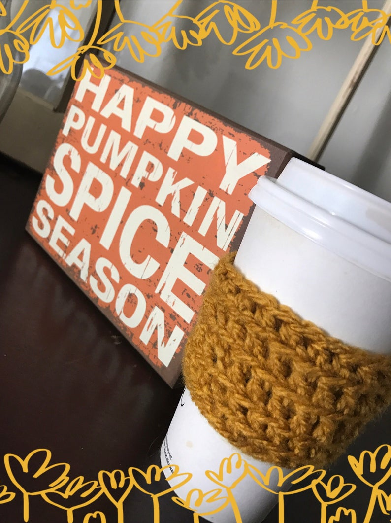 Mustard Yellow Crocheted Cup Cozie perfect accessory for fall image 0