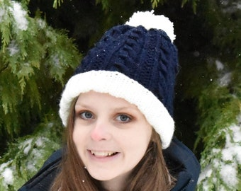 Pom Pom Beanie, Cabled Winter Hat, Shown in Navy