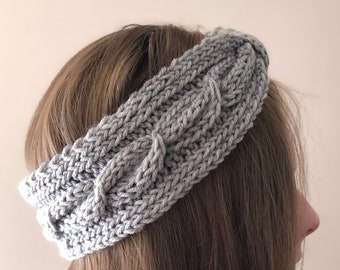 Knotted Cabled Headband, Solid Color, Examples in Gray and Teal