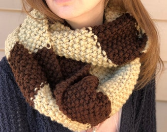 Super Chunky Two-Toned Infinity Scarf, Seed Stitch,