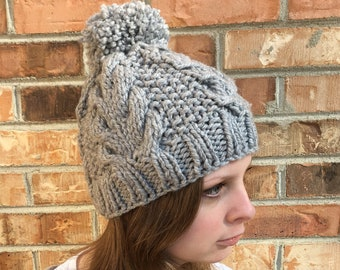 Snow Bunny Cabled Pom Pom Beanie, Solid Color Options, Shown in Natural