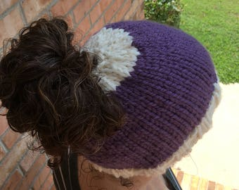 Two-Toned Solid Bun/Ponytail Beanie, Shown in Purple and Natural