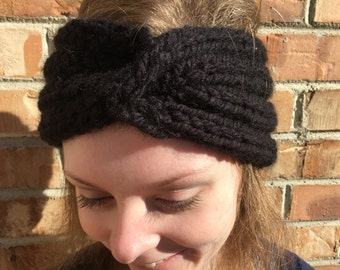 Knit Horseshoe Cabled Headband Pattern Instant Download