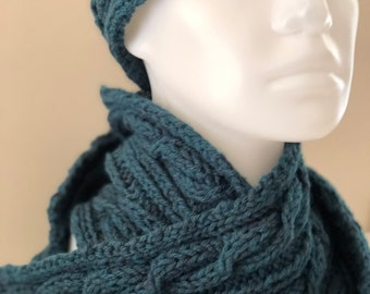 Cabled Scarf, Solid Color Options, Examples in Teal and Natural