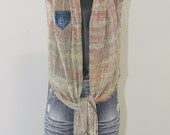 Alpaca  Silk Scarf with denim pocket
