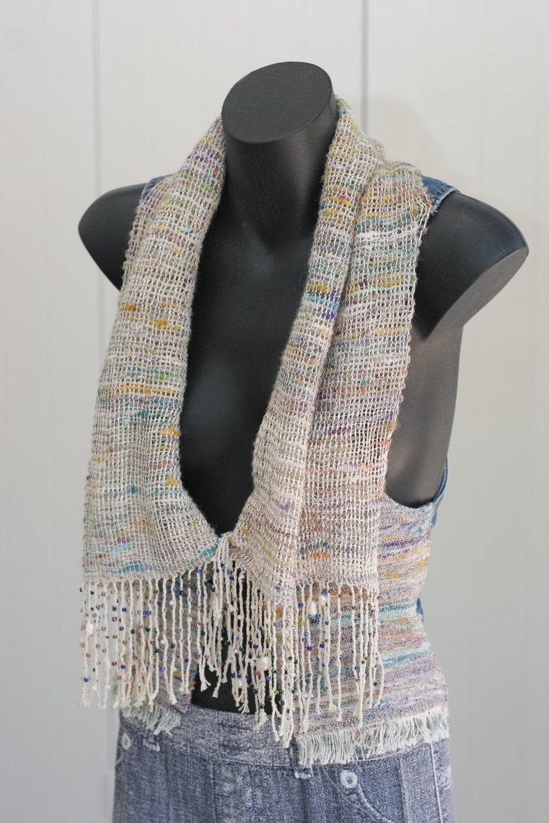 Alpaca Silk Hand Spun Handwoven scarf/vest image 0