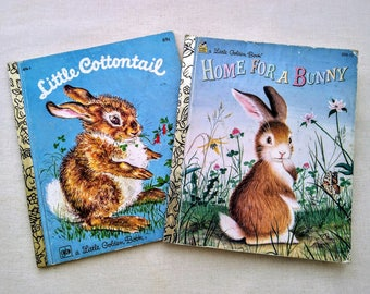 2 Vintage Little Golden Books Bunny Rabbit Children's Kid Ephemera - LITTLE COTTONTAIL Disney Advertising -  Home for a BUNNY