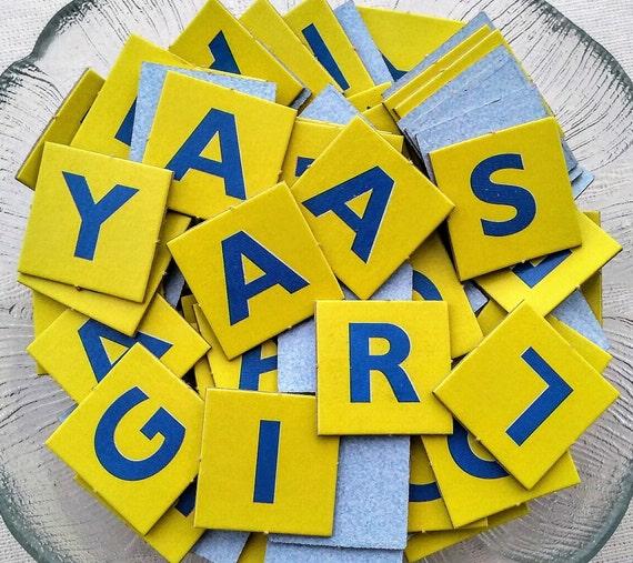 101 scrabble junior jr tiles letters yellow blue alphabet | etsy