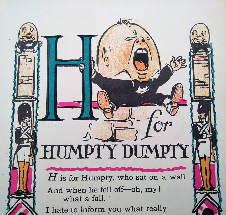 9260cdd913aa Vintage Alphabet Ephemera Book Page Letter H for Humpty Dumpty
