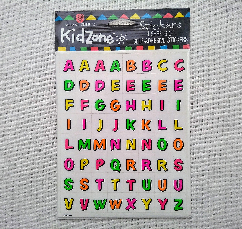 alphabet letters vintage stickers american greeting kidzone etsy etsy