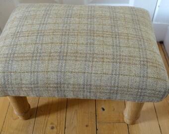 Footstool with bespoke scottish oak legs in Harris Tweed, Rectangle Bespoke footstool, Rectangle stool, Foot Stool