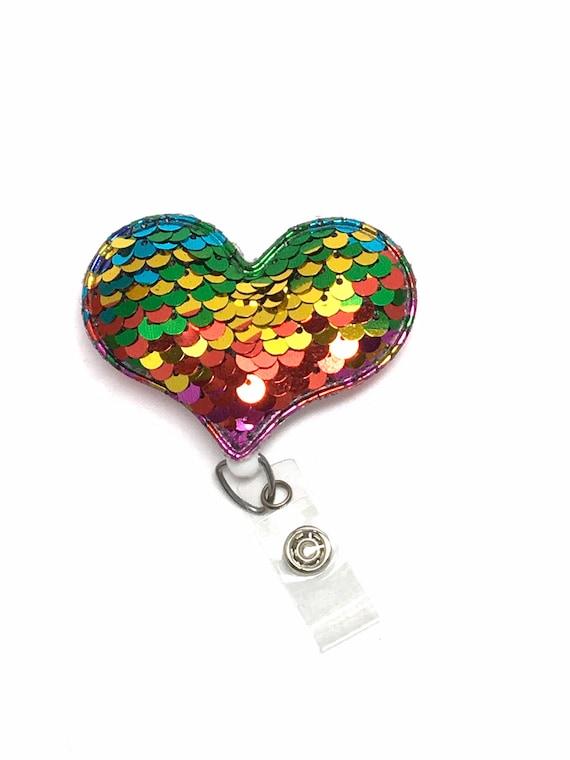 Heart Badge Reel, Heart Badge Holder, Nurse Badge Reel, RN Badge Holder,  Reversible Sequin Heart, Teacher Badge Reel, Retractable Badge Reel