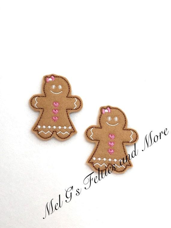 Gingerbread felties Holiday glitter felties Gingerbread feltie Christmas felties