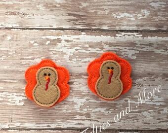Turkey Feltie, Thanksgiving Feltie, Set of 2 Embroidered, Fall Feltie, Turkey Felties, Cut Felties, Bow Center, Thanksgiving Turkey