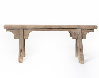 Beau Rustic Chinese Wooden Bench   Old Unique Wooden Benches   Vintage Weathered  Wood