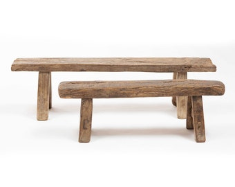 PRE-ORDER -  Antique Chinese small wooden bench - Old unique wooden bench - vintage weathered wood