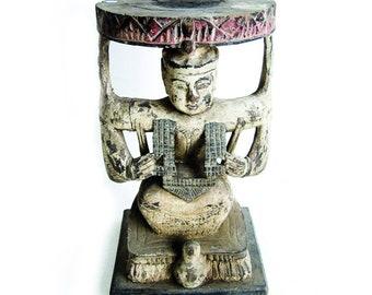 Thai rare antique white ceremony stool - unique piece