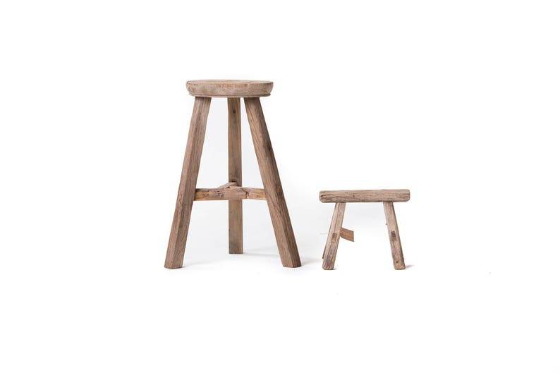 Weathered Workman's Stools - gorgeously rustic wood stool accents to complement a French country, European farmhouse, or French Nordic farmhouse style space. #frenchfarmhouse #rustic #stool