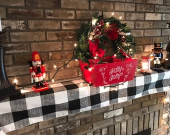 rustic holiday decor christmas centerpiece buffalo plaid christmas decor christmas mantel decoration christmas mantel