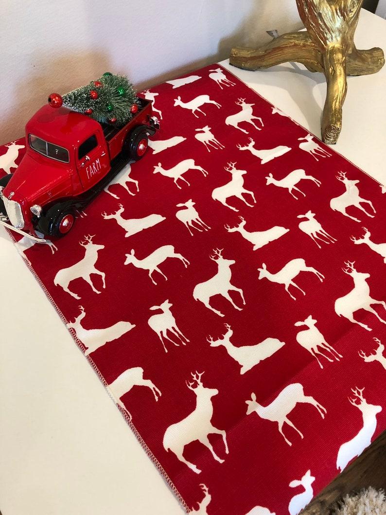 Christmas Table Decor Christmas Table Runner Colorful Christmas Winter Christmas Decorations Deer Reindeer Table Runner