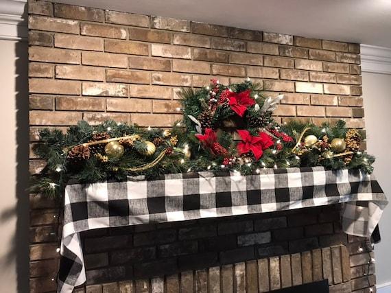 Mantle Farmhouse Scarf Christmas MantelDecor Buffalo Plaid 6gIY7yvbf