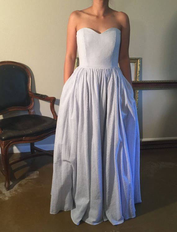 Something blue cotton seersucker gown evening dress blue and | Etsy
