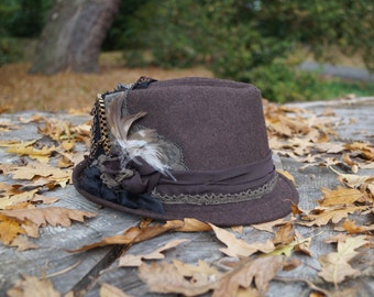 Customised brown trilby fedora hat