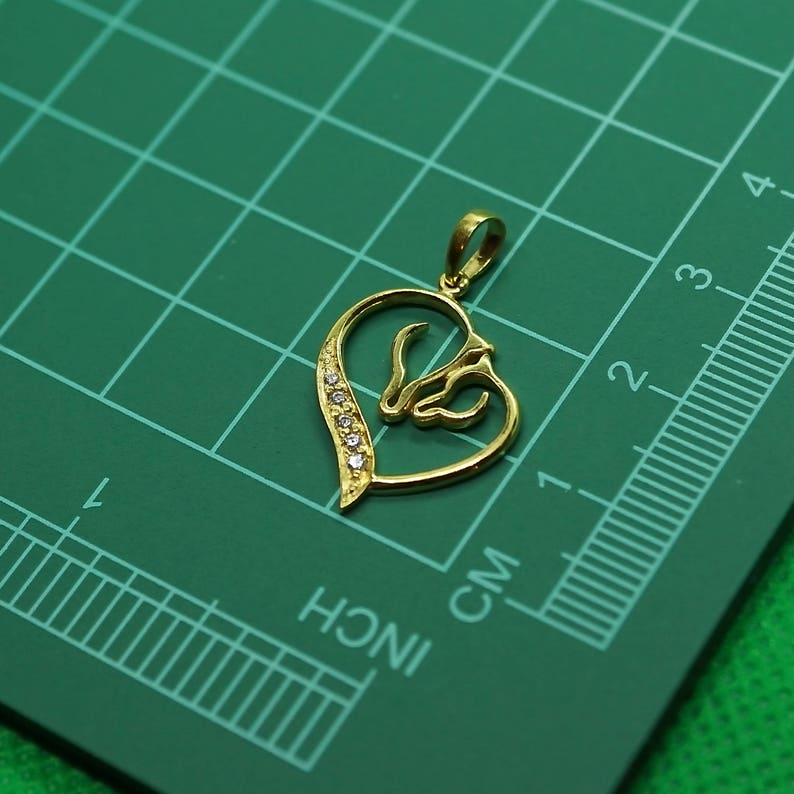 luckier believe in you make wish Good luck Gift good fortune lucky Horse Pendant 22K solid gold love you mom jewelry Gift for her